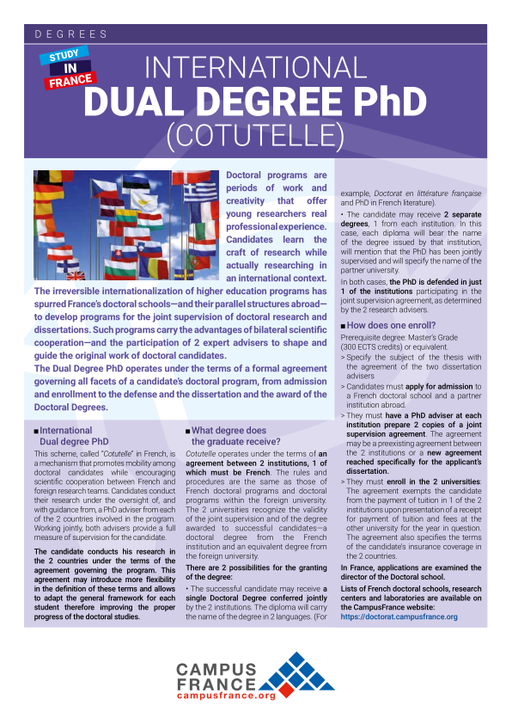 International Dual Degree PhD (Cotutelle) | Campus France