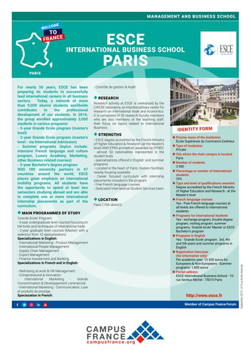 École Supérieure du Commerce Extérieur | Campus France