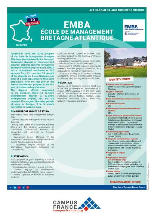 EMBA - École de Management Bretagne Atlantique | Campus France