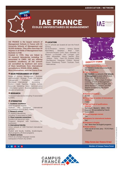 Carte Campus Bordeaux.Iae France Ecoles Universitaires De Management Campus France