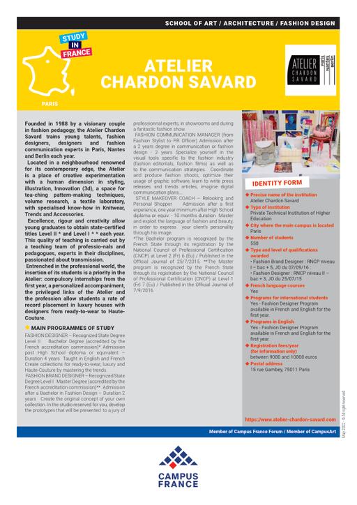 Atelier Chardon Savard Campus France
