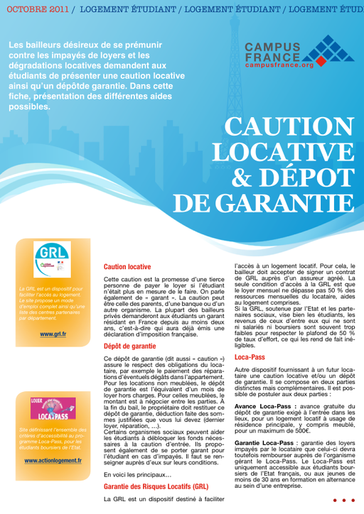 Caution Locative Et Depot De Garantie Campus France