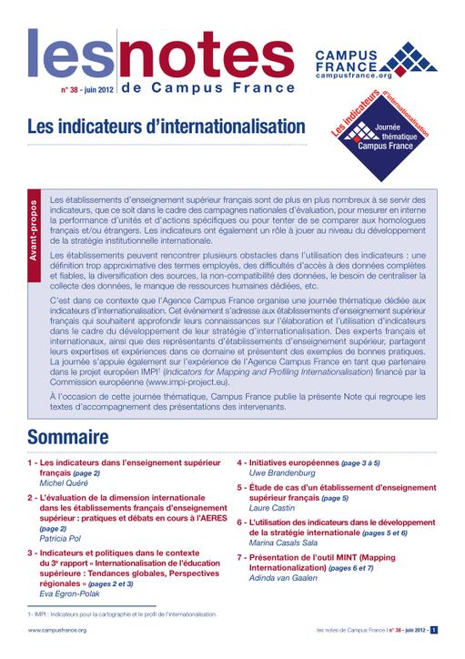 Les Indicateurs D Internationalisation Campus France